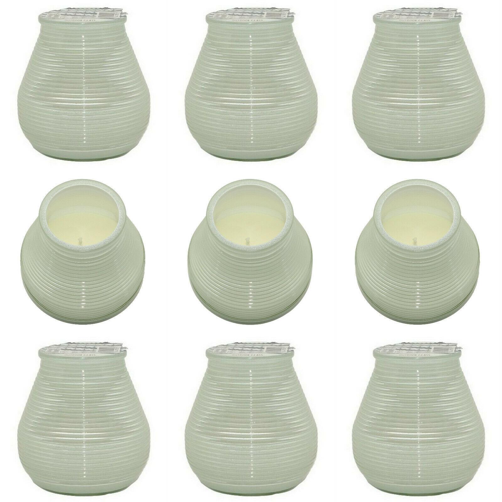 10 Stück Outdoor Kerzenglas 94x91mm Kerzen im Glas Garten Windlicht Kerze weiß