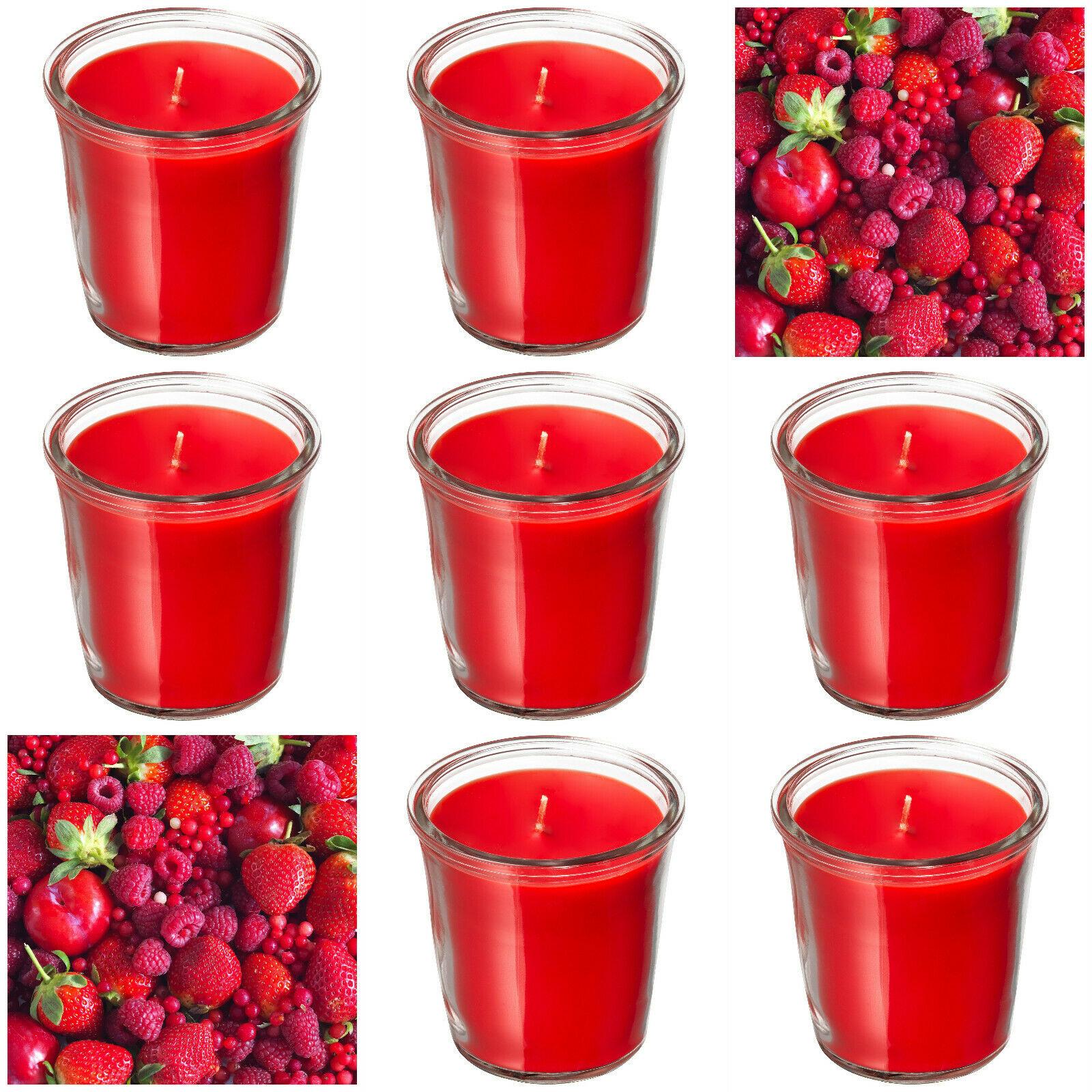12 x Ikea Duftgläser 70x70 mm Duftkerzen im Glas Kerzenglas Beerenmischung Rot