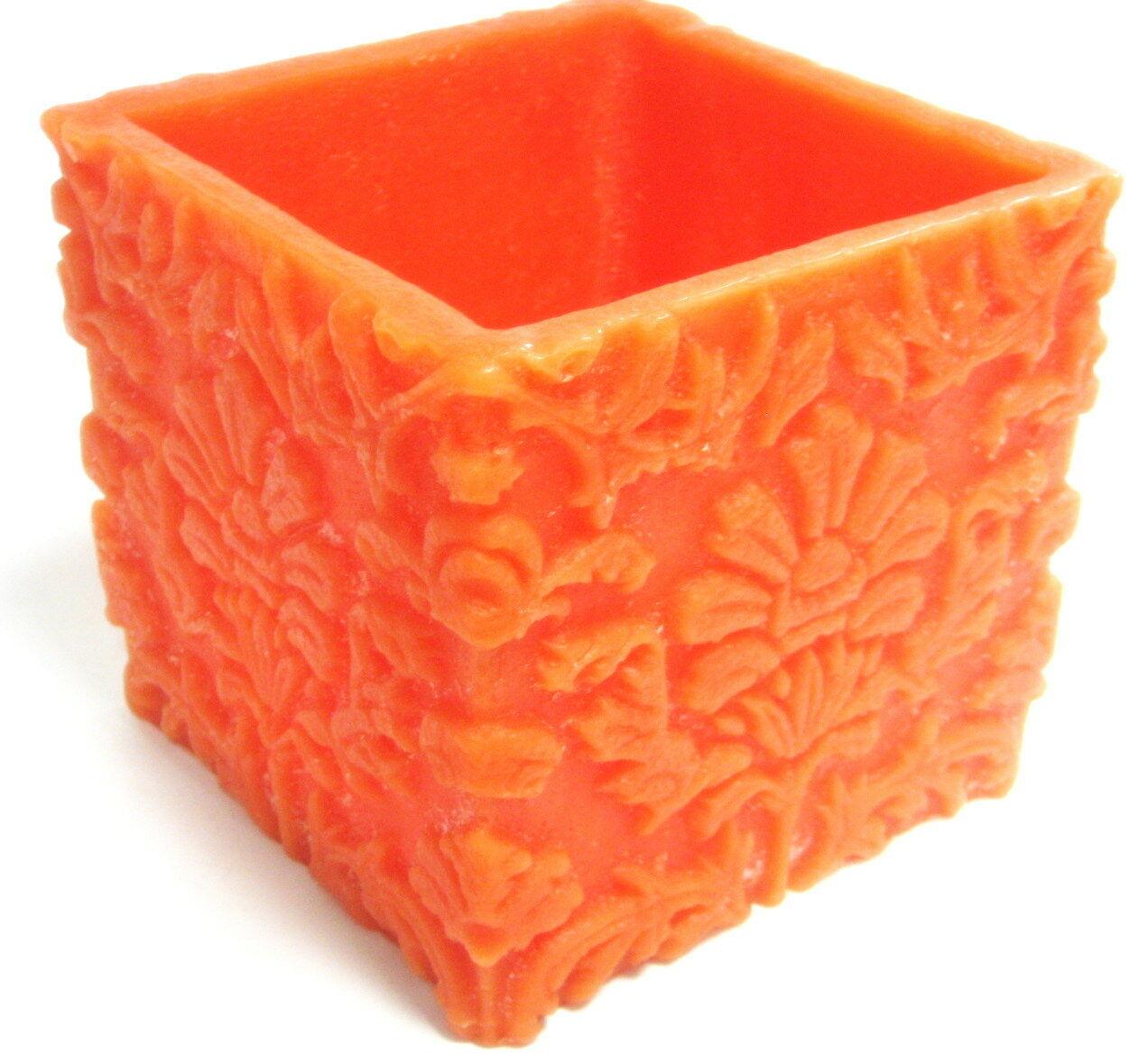 Wachsschale 150x150x140 mm eckige Rustik 1.000g Deko Kerze Windlicht Wachslicht  - orange