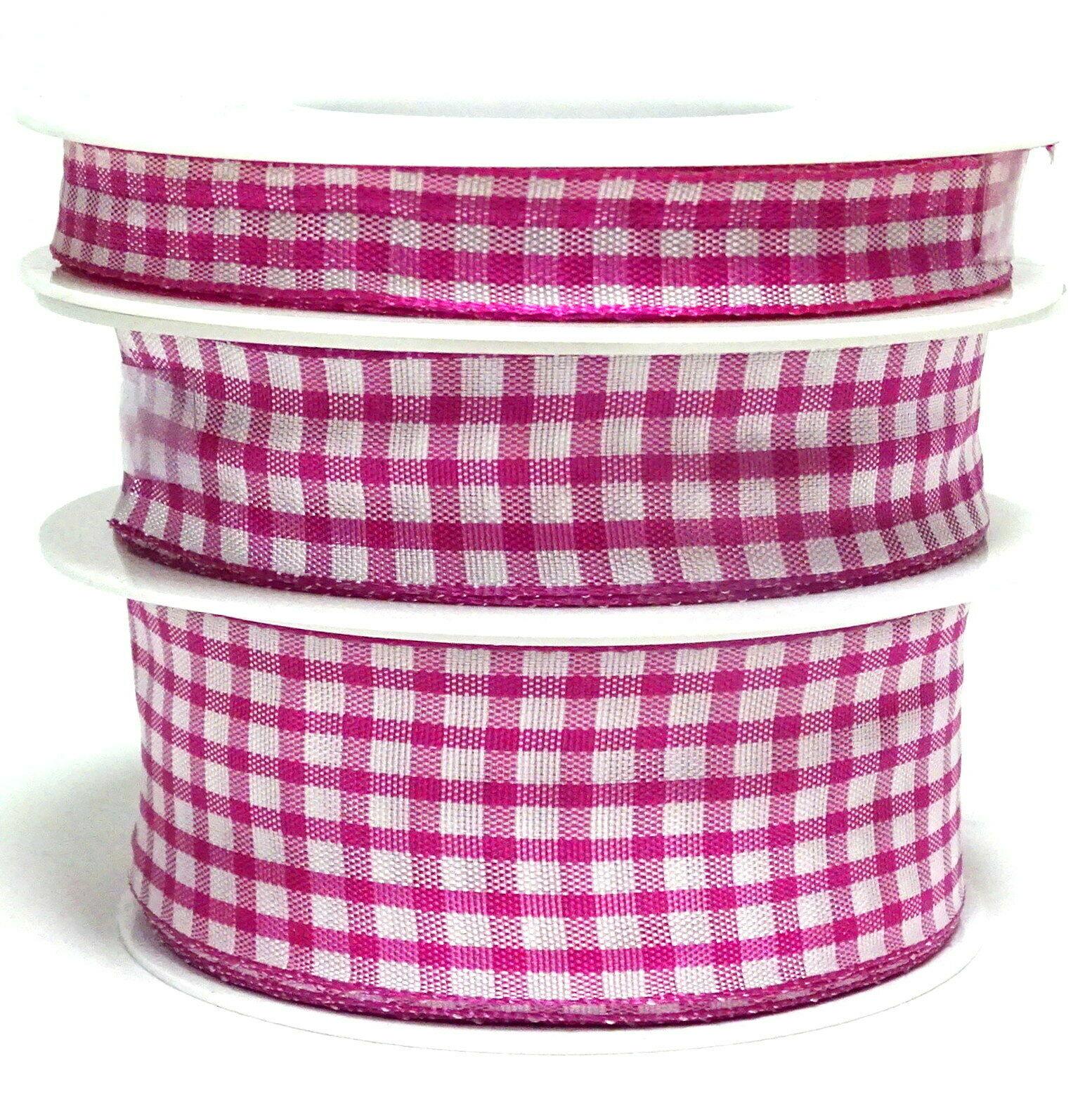 Karoband 20 m x 15mm/25mm/40mm Vichy ab 0,30€/m Schleifenband Geschenkband Deko - pink-weiß 0138, 15 mm x 20 m