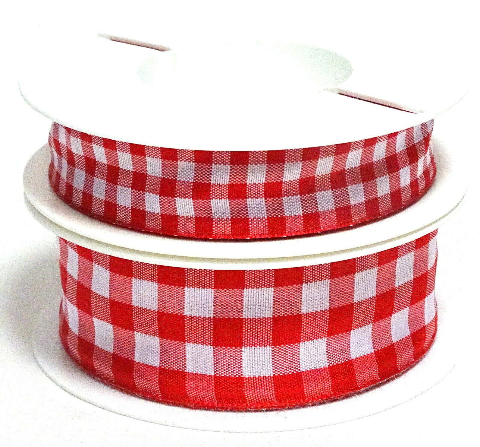 Karoband 20 m x 15mm/25mm/40mm Vichy ab 0,30€/m Schleifenband Geschenkband Deko - rot-weiß 4623, 25 mm x 20 m