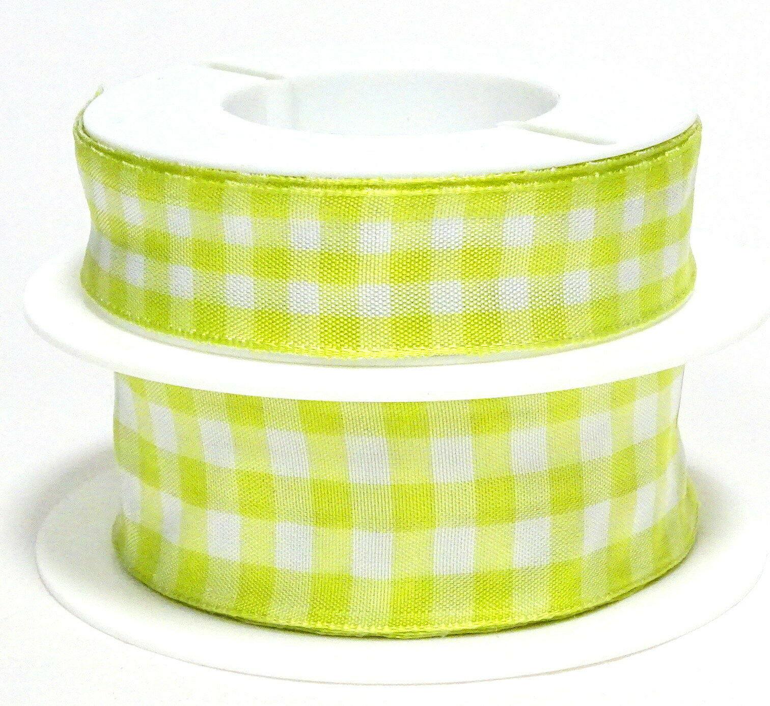 Karoband 20 m x 15mm/25mm/40mm Vichy ab 0,30€/m Schleifenband Geschenkband Deko - limone-weiß 4204, 25 mm x 20 m