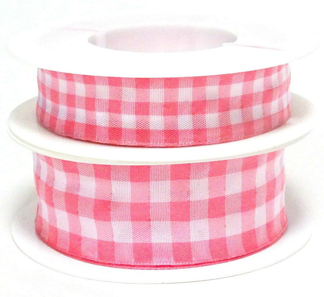 Karoband 20 m x 15mm/25mm/40mm Vichy ab 0,30€/m Schleifenband Geschenkband Deko - rosa-weiß 4116, 25 mm x 20 m