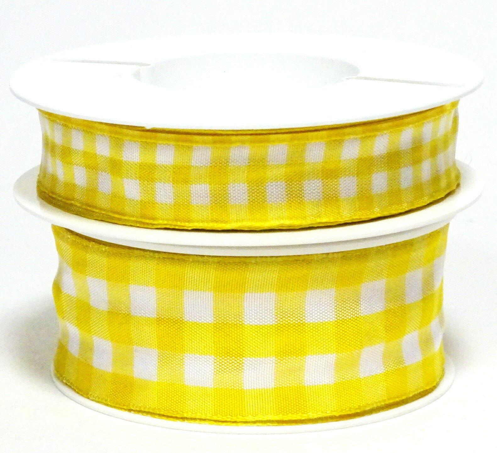 Karoband 20 m x 15mm/25mm/40mm Vichy ab 0,30€/m Schleifenband Geschenkband Deko - gelb-weiß 4245, 25 mm x 20 m
