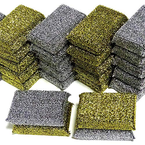 20 Stück Lurex Topfreiniger 115x75x30 mm Gold + Silber Topfschwamm Scheuerschwamm Glänzerkissen Anti-Kratz-Schwamm Pfannenschwamm Putzschwamm